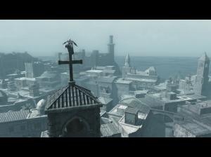 Posando em uma torre de igreja.